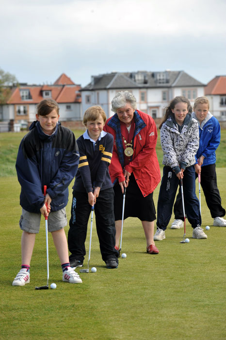 The U.S. Kids Golf Foundation holds a special golfing try-out day for youngsters in East Lothian to promote its 2011 European Championship. East Lothian Provost Sheena Richardson joins in the fun at Gullane golf course.