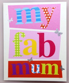 "Luscious cards from the Soul card company's Juice range offer modern sentiment for a colourful world, with cards bearing mottos like ""my fab mum"" in bold, bright lettering. This card, which is adorned with sparkling silver butterflies, simply reads ""Happy Mother's Day"" in pink lettering on the inside. The cards retail at £2.50 at Scribbler stores across Scotland and England"