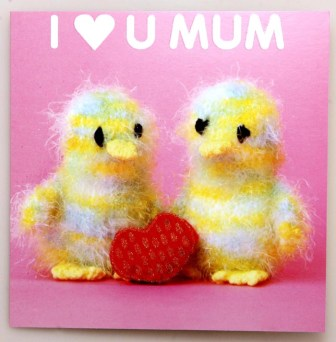 """This """"Tweet"""" greeting is bound to sweeten up any mum. These goodies from Mint Publishing give a cute mother's day greeting with a touch of glitter for special mums. The animals are lovingly hand knitted by the Harborough Ladies knitting circle. The cards retail at £2.50 at Scribbler stores across Scotland and England"""