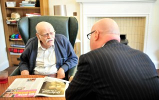 Paul Edie, Chair of the Care Inspectorate, meets residents at Astley House