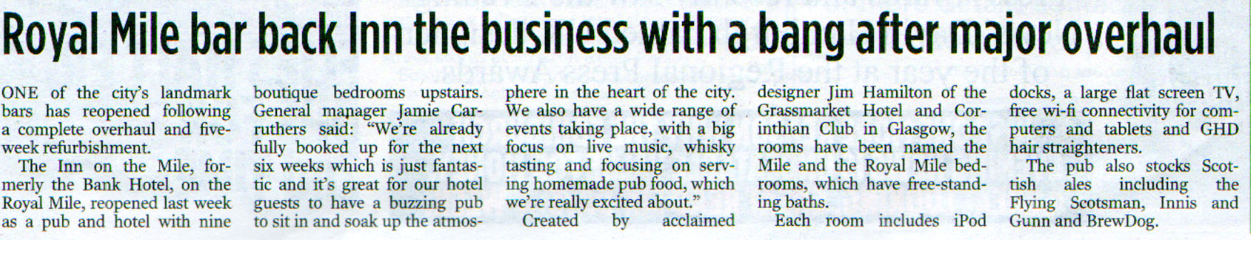 Edinburgh Evening News coverage