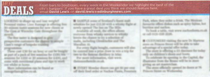 17 AUG Edinburgh Evening News Inn on Mile Hot Deals