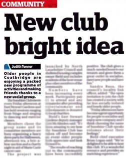 Bield and North Lanarkshire Council have teamed up to create a social outlet, The Sunshine Club, in Coatbridge.