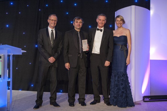 PR photography Scott and Raymond on Stage collecting award