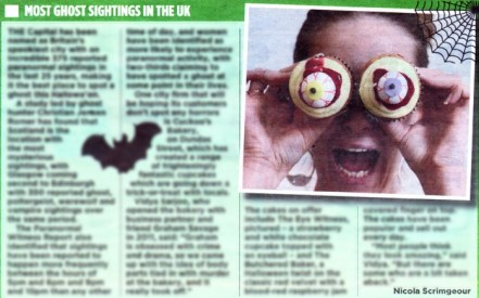 Cuckoo's Bakery has been featured on page three of the Edinburgh Evening News at Halloween