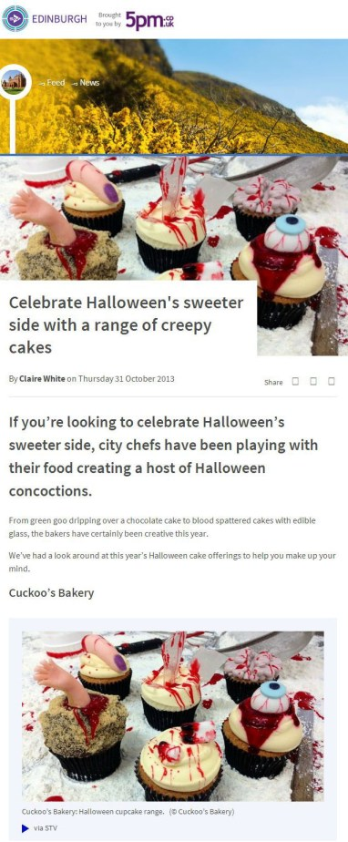 Cuckoo's Bakery appeared on STV Edinburgh as part of a Halloween cupcake feature
