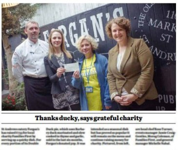Forgan's in St Andrews has presented Families First with a charity donation
