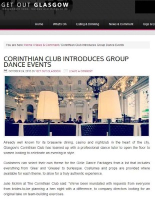 The Corinthian Club has been featured on Get Out Glasgow's website