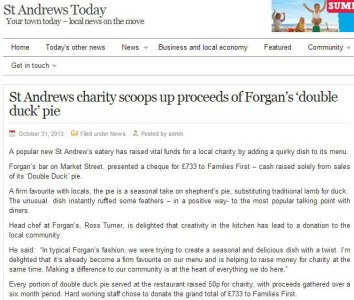 St Andrews Today has covered news of Forgan's charity donation to local charity Families First in St Andrews