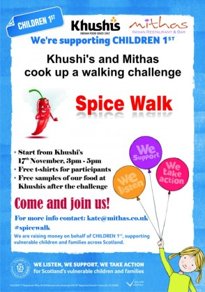 Indian restaurants Mithas and Khushi's have organised The Spice Walk charity event in aid of Children 1st