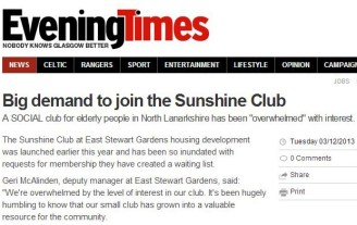 Bield's social outlet in North Lanarkshire, has been featured in Evening Times