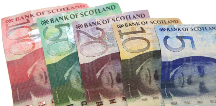 Colourful Scottish Banks notes of various denominations