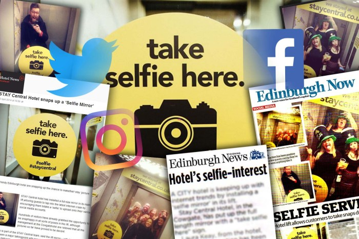 Hotel PR agency, Holyrood PR celebrated the success of selfie mirrors installed in Edinburgh city centre hotel, Stay Central
