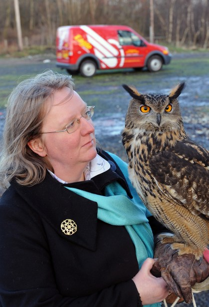Ollie the Eagle Owl poss for the camer - Eagle Couriers