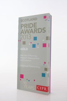 PR agency Holyrood PR collected a gold award for best use of PR measurement and evaluation in 2013
