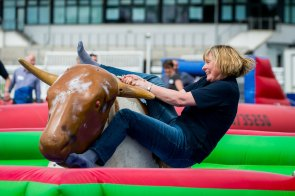 An eager participant keen to stay on the Bucking Bronco