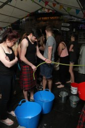 Big buckets were used to make sure plenty of water was dousing the staff