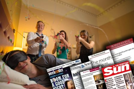 "Montage of media coverage showing Hotel PR success for Scottish hotel with dedicated ""quiet zone"""