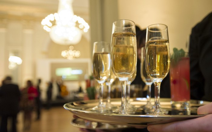 Food and drink PR image shows champagne glasses to celebrate Holyrood PR's successful campaign with Sodexo Prestige