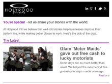 An example of the PR newsletter from Scottish PR agency Holyrood PR in Edinburgh