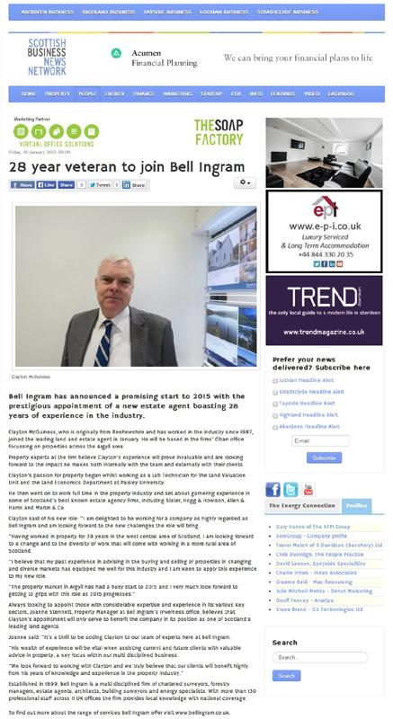 Scottish Business News Network Clayton McGuiness Bell Ingram Edinburgh PR Client