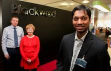 Blackwood Foundation Head Colin Foskett and  Chief Executive Fanchea Kelly present award to Blackwood Student Design Winner Kirubin Pillay from Oxford University