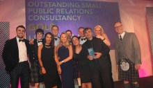 Holyrood PR Team on Stage when named Outstanding PR Agency Award in 2015