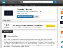 tech firm Uber advertised on LinkedIn for an Editorial Director