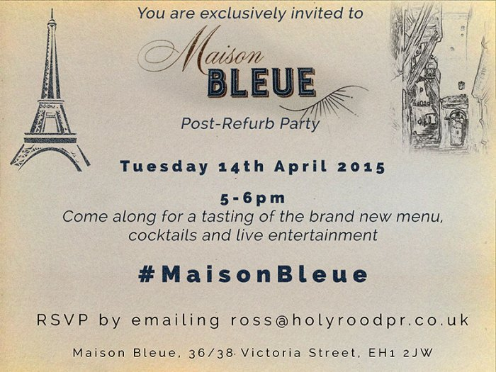 Invitation to post refurbishment party- food and drink pr
