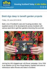 Edinburgh PR Agency helps Bield's Gardening Project hit the industry headlines