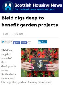 Edinburgh PR Agency promotes gardening project for Bield