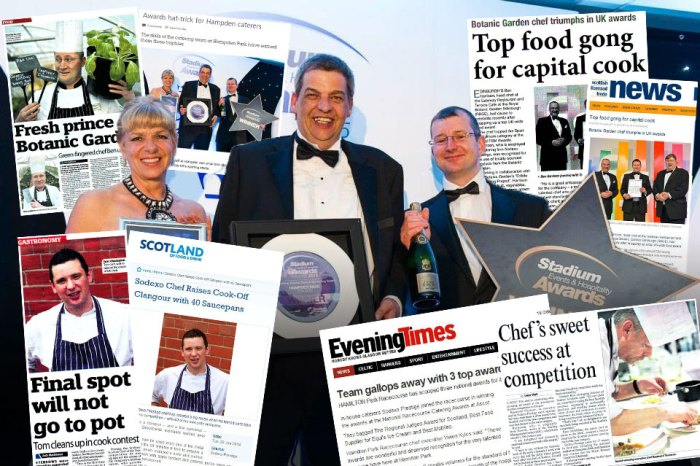 Food and Drink PR photo shows media coverage success for Sodexo's trio of award wins