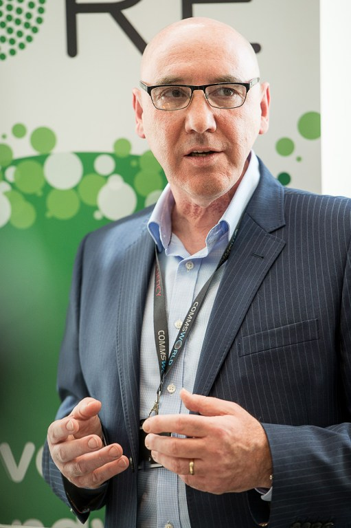 Commsworld CEO Ricky Nicol pictured in a tech PR photo at Commsworld and CityFibre launch