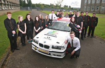 GOOD EGG YOUNG DRIVER SAFETY CAMPAIGN WITH SCOTTISH SUN RACER CHRISTIE DORAN AT KILSYTH ACADEMY, GLASGOW. PIC SHOW THE YOUNG DRIVERS WITH CHRISTIE AND HER BMW COMPACT CUP RACE CAR. FOR FULL DETAILS CONTACT JAN JAMES 07980 851360/jan@dynamicadgroup.com
