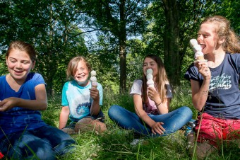 Children pose with ice creams for Food and Drink PR story