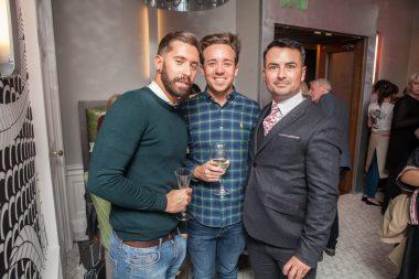 Hotel PR photograph of Daniel Handley, Gordon Gare and Derek King in Tigerlily, Edinburgh