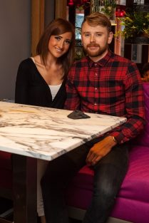 Hotel PR photograph of Kirsten Prince and Fraser Reid in Tigerlily, Edinburgh