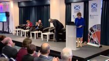 PR photo of First Minister Nicola Sturgeon giving an address on Cyber crime