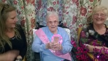 Social care PR photography of gin loving 105-year-old Ina Carruthers