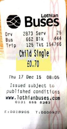 Lothian Buses Ticket - Adult Given Child Ticket