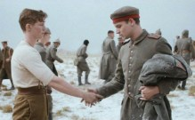 A still from a Sainsburys Christmas commercial set in WW1 trenches