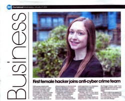 PR success for ethical hacker who is female student