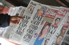 Photo of a news stand to demonstrate media relations