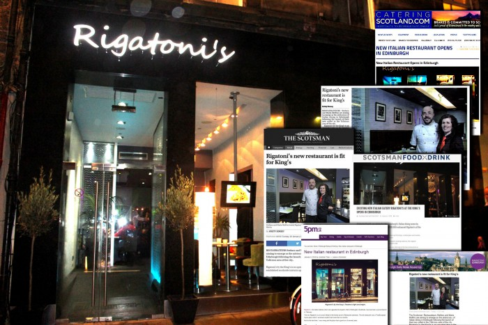 Extensive media coverage for Rigatoni's thanks to Scottish public relations agency