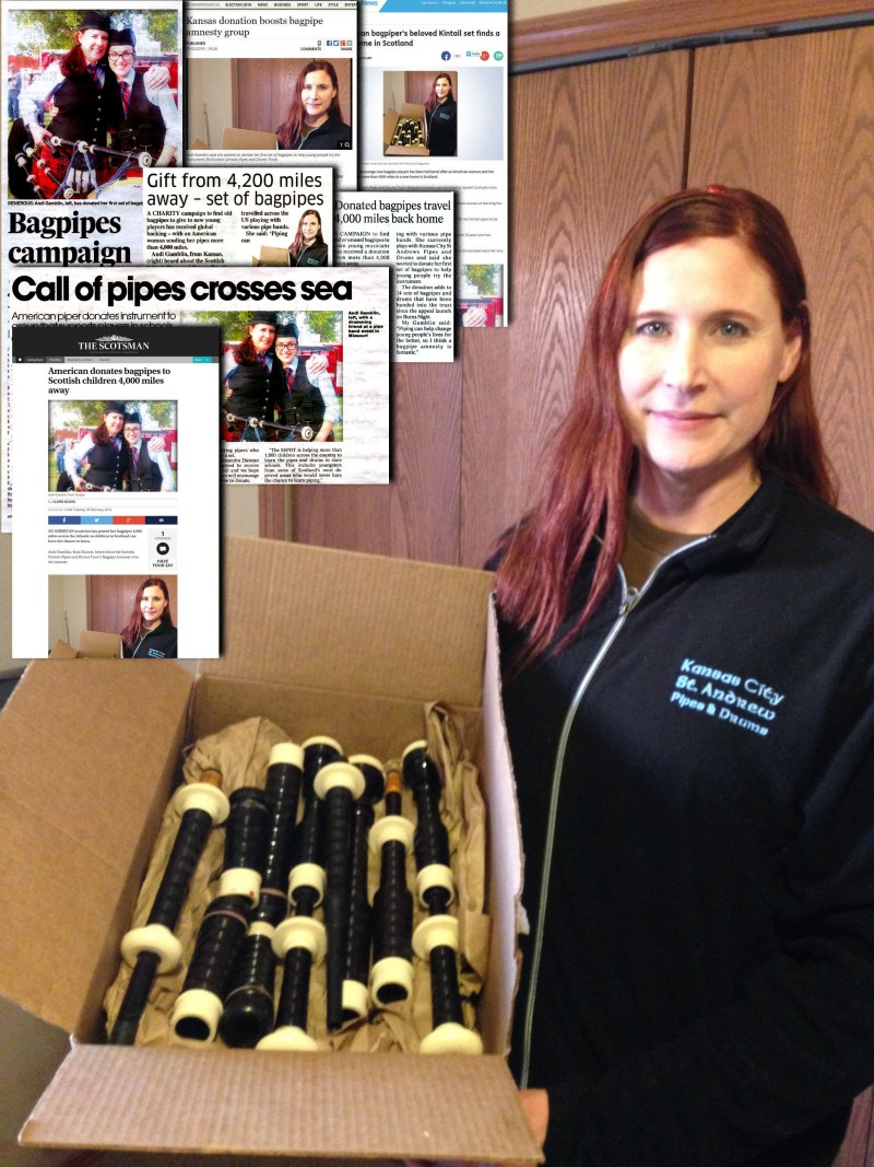 American woman's bagpipe donation is huge Scottish PR success story