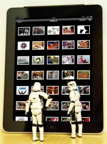 An image of an iPad being used by two stormtroopers