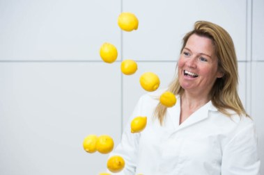 Kirstin Mackie from Mackie's of Scotland take part in the PR launch of the new Sicilian lemon flavour