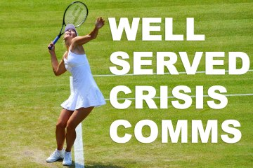 "Image of Sharapova with text over, ""Well served crisis comm"""
