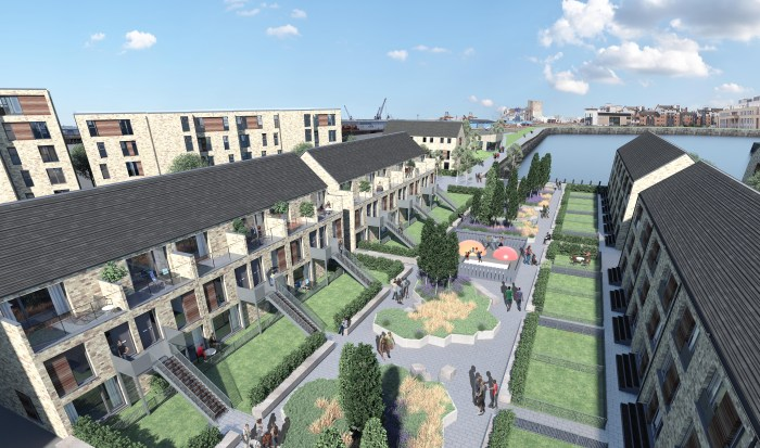 An image of the proposed development for CALA Homes at Leith Docks