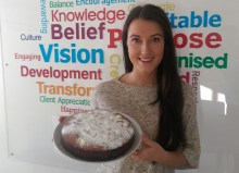 Holyrood PR acount manager Ainsely Piggott bakes a cake